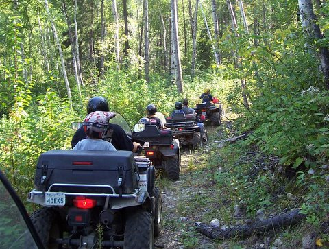 Following each other on the ATV trail!