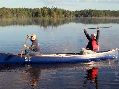 Enjoy a paddle around the lake in one of our canoes!